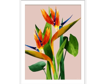 Birds Of Paradise Print. Birds Of Paradise Picture. Exotic Flowers. Tropical Print. Botanical Wall Art. Wall Decor