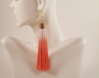 Tassel earrings, pink coral tassel earrings, fringe earrings, coral earrings, ombre earrings, ombre jewelry, coral statement earrings