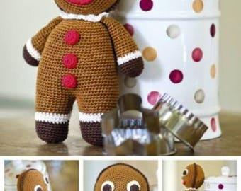Gingerbread Man Crochet Pattern from DMC, christmas toy, amigurumi toy pattern, christmas ornament