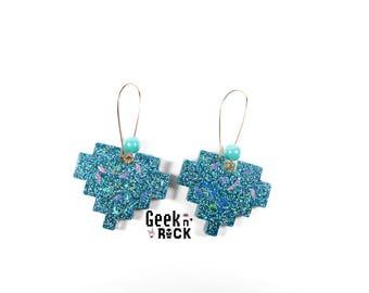 Geek earrings - pixel heart glitter holographic vibrant gamer video game nerd