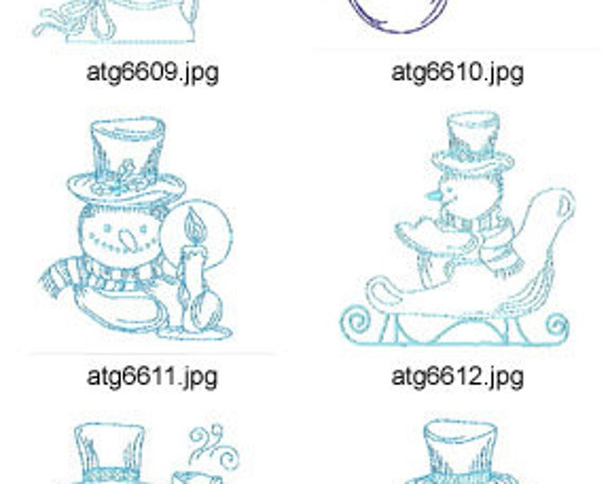 Holiday-Snowmen-In-Blue ( 10 Machine Embroidery Designs from ATW ) XYZ17M