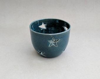 Starry blue lumineers for tea light candles- Handmade stoneware ceramics