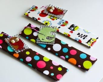 Printed Fabric bookmarks/cute bookmarks/owl prints elephants/polka dot fabric/silver sequin embellishment bookmark/Cute boomarks