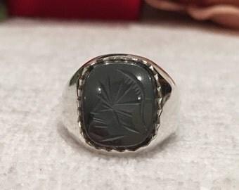 Wonderful Vintage ENGLISH Sterling Silver Carved Roman Centurion HEMATITE Ring-By J. C (Midland) Jewellers-BIRMINGHAM 1984-Uk T-Us 9 & 5/8