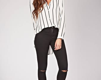 Buttoned shirt, long striped, lightweight and fluid