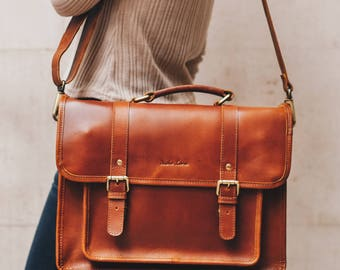 Leather Satchel messenger bag laptop briefcase iPad Messenger for men and women - Classic by Niche Lane Tan