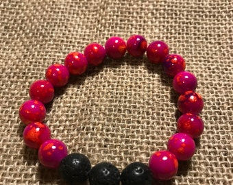 Hot Pink Multicolor Bead Bracelet with Essential Oil Diffuser Black Lava Rocks