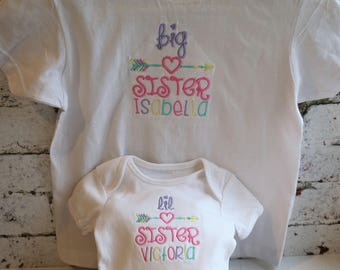 Big Sister little Sister, personalised tops, sibling set, Sisters, new Sister gift, new baby, baby girl