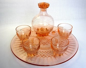 Art Deco / French Pink Depression Glass Decanter & 4 Shot Glasses With Tray / Drinking Set / Cake Stand / Angular / Depression Glass / 30,s