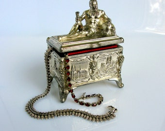 Antique German Jewelry Box / Casket / Art Nouveau / Silver Plated Trinket Box / Souvenir Box / With Red Lining / Travel Souvenir / 1900,s