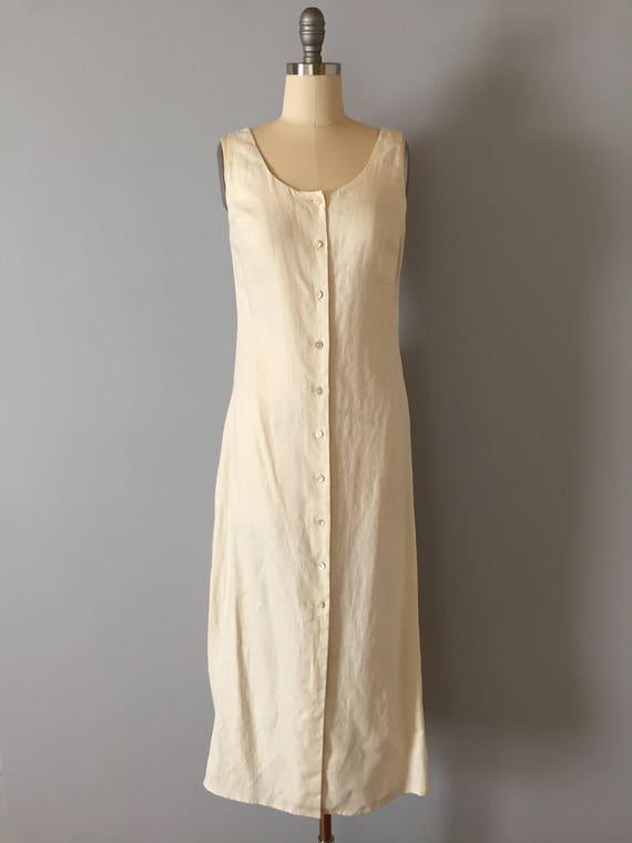 1990s Cream White Linen Dress Button Front Summer Dress