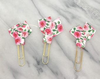 Pink Roses Planner Clips Supplies Accessories Ribbon Paper Clips Back to School or Home Office Bookmark
