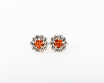 Sterling Silver Pave Radiance Stud Earrings, Swarovsky Crystals, 7mm Flower, Sun(Orange)Color, Unique BlingBling Korean Style