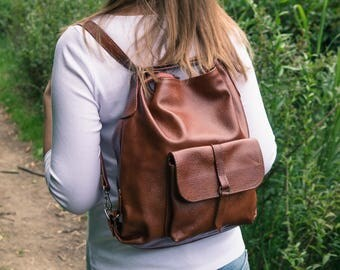 Leather Backpack, Backpack Purse, Leather Rucksack, Leather Tote Bag, Laptop Backpack, Leather Handbag, School Bag Gift For Her Cognac Brown