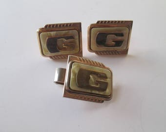 Vintage 1970s Mens Cufflinks Tie Clip G Monogram Mother Of Pearl Gold Plated Jewelry Set