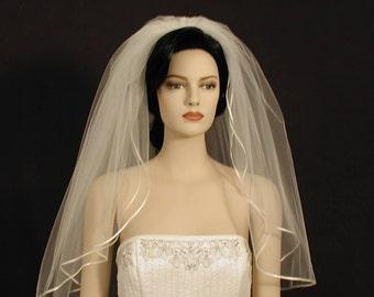 "30"" Double Tier Elbow length wedding veil with 1/8"" satin ribbon edge"