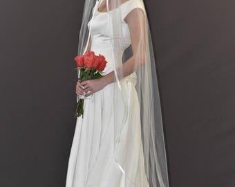 """75"""" Floor Length Wedding Veil with 3/8"""" Folded Stain Ribbon Edge"""