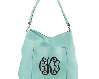 Monogrammed Mint bucket bag 2in1 gold tone hardware, personalized purse