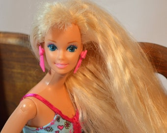 1976 Totally Hair, Barbie, Fully Dressed, Vintage Doll, Blue Eyed Barbie, Brush-able Hair, Barbie Doll, Blond Hair, Mattel Toys
