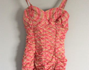 Vintage 1950's Pink\/Beige PLAID Swimsuit PINUP  Size S