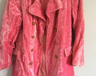 Coat pink velvet 60s