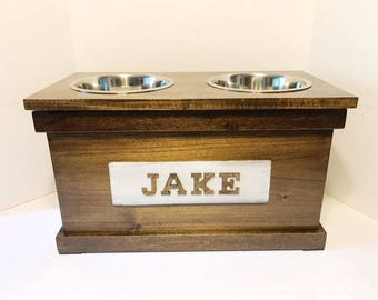 Rustic Wooden Dog Dish Stand with Storage, Dog Feeder, Personalized Dog Bowl, Dog Bowl, Raised Dog Feeder, Elevated Pet Bowls,  Dog Feeding