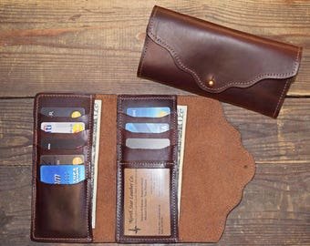 Women's Credit Card Clutch Wallet, Horween Leather Chromexcel Women's Wallet, Made in USA Women's Wallet with ID Window