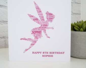 Personalised Fairy Card, Personalised Child's Birthday Card, Personalised Birthday Card, Fairy Card
