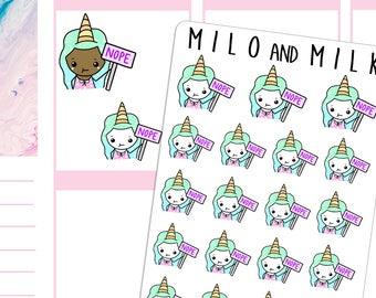Unicorn Emoji Girls 'Nope' | Planner Stickers