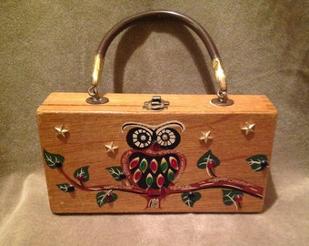 1950s Small Wooden vintage Box Bag / Purse / collectors item by gary gails Dallas - Japan