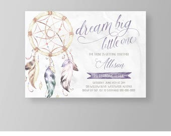 Girls Birthday Invitation Template | Tribal Boho Dreamcatcher Party Invite | Dream Big | Printable | Editable | Instant Download #035GBD