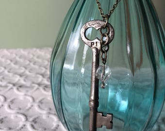 Large Skeleton Key Necklace, glass accent bead and brass chain