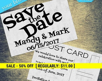 Retro Style Save The Date, Printable Template, Wedding Printable, DIY Wedding, Editable, Printable