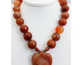 Vintage to Antique Round Carnelian Stone Bead Necklace w/ Carnelian Heart/Arrowhead Pendant & Sterling Silver Beads and Clasp
