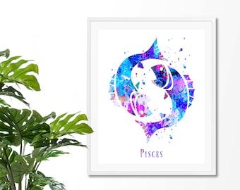 Pisces #4 Watercolor  Astrology Art Print, Pisces  Sign , Pisces Zodiac, Pisces Wall Art,  Pisces Poster, Gifts for Pisces