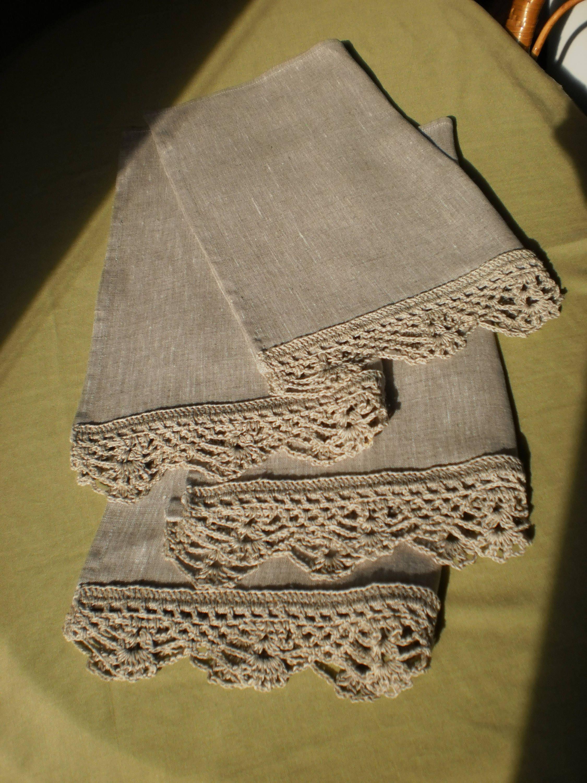 Linen Towel Lace Tea Towels Set Rustic Home Decor Shabby Chic Linens Gray Linen  Towel Kitchen