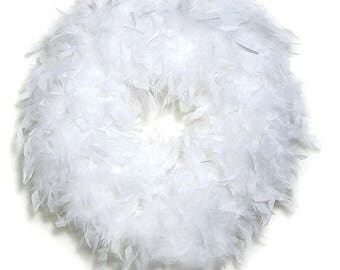 Quality White Feather Wreath