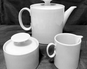Vintage Thomas (Rosenthal) 3-piece set, Medaillon, White, porcelain teapot + creamer + sugar bowl