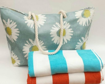 SALE! Large beach bag/tote in oilcloth, Oilcloth beach bag, Oilcloth beach tote, Oilcloth bag, Large oilcloth beach bag, Oilcloth