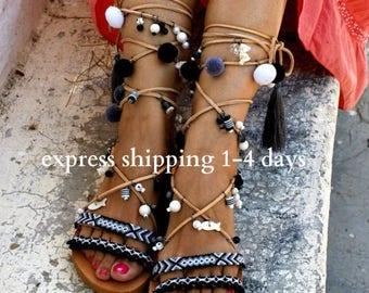 20% OFF LIBERIAN GIRL / Pom pom sandals/ Gladiator sandals/ boho sandals/ tie up sandals/ friendship sandals/ black sandals/ handmade Greek