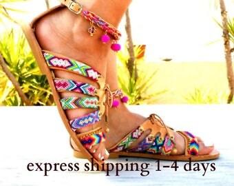 CRETE sandals/ Leather Sandals/ Gladiator Sandals/ Spartan Sandals/ Handmade sandals/ friendships Sandals/ Boho Flats/ Pom pom Sandals