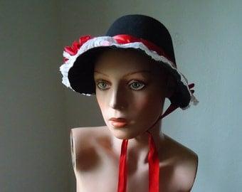 Fancy Women's hat - Felt costume hat - Costume hat - Red costume hat - Red and black hat - Victorian costume bonnet - Vintage hat, Costume