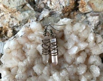 Tangerine Quartz crystal point earrings, raw natural boho jewelry, antique bronze wire wrap, Elesyn Gaea jewelry.