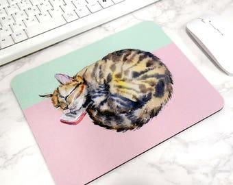 Sleeping Cat Mouse Pad Cute Desk Mat Animal Illustration Office Decor