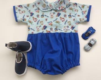 Boys Rabbit Romper, Size 1, Boys Playsuit, Bubble Romper, Vintage Style Romper, Blue Romper, READY TO SHIP - DesignedByNormaAU