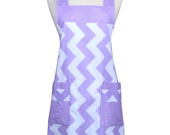 Japanese Crossback in Large Lavender Chevron - Retro Cross Over Womens Vintage Kitchen Apron with Pockets