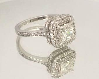 Certified 2.60 CT Princess cut Diamond engagement Ring 14k white gold  hand made