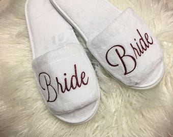 PERSONALIZED  bridal  slippers!  Bridal Shower, bridesmaid slippers, bridesmaid gifts, wedding slippers, personalized slippers