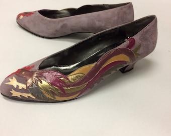 Margaret J. Jerrold Roost Pumps | 1980's Vintage Unworn  | Purple Rooster Size 9 M | Mint Condition  | NOS | Dead stock