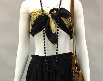 """Vintage 1960s Does 1920s Black Long Bead Necklace 27"""" Long"""